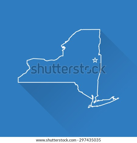 Line Map of New York - stock vector