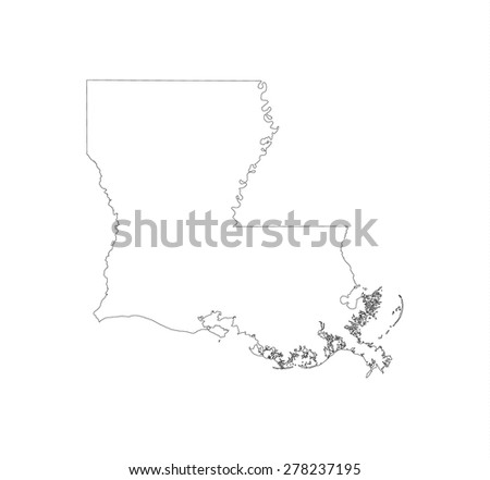 Line Map Of State Louisiana