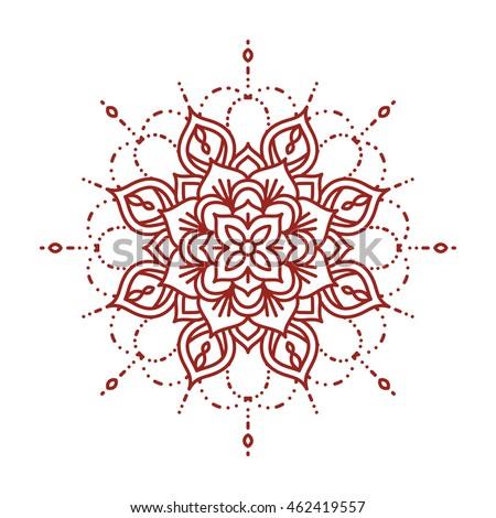 line mehndi mandala intricate ornate hennaのベクター画像素材