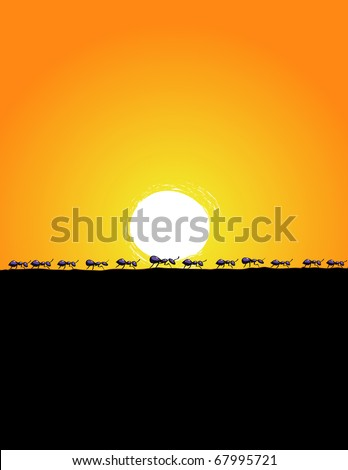 Line of ants walking across the baron ground at sunset. - stock vector