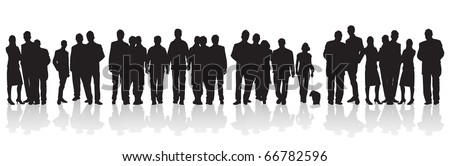 line of people - stock vector