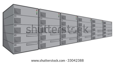 line of servers - stock vector