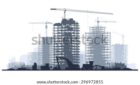 Line of silhouettes illustration of construction site with cranes and skyscraper with tractors, bulldozers, excavators and grader in blue tone. - stock vector