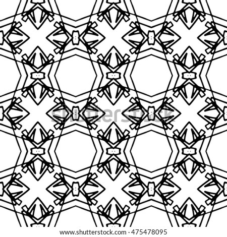 Line ornament pattern. Black and white abstract texture for prints, textiles, wrapping, wallpaper, website etc. Vector illustration.
