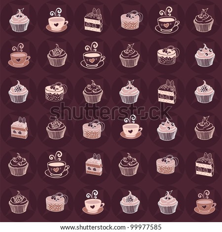 Line pattern with desserts, coffee and hot cacao - stock vector