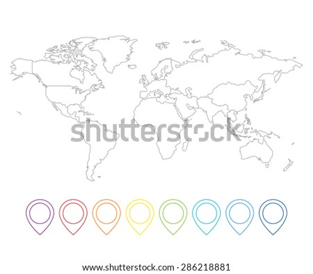 Line pointer map with world map