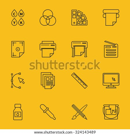 Line printing icons set. Ink and palette, printer and cmyk spectrum, curve bezier, cursor and paintbrush, vector illustrations - stock vector