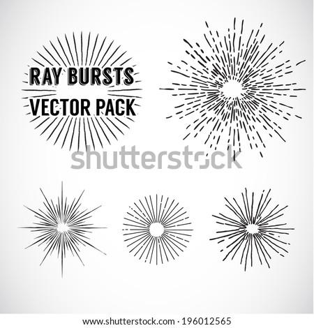 Line Ray Burst. vintage style  - vector set - stock vector