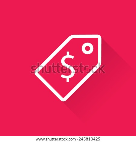 Line Red Sale Price Tag Icon - stock vector
