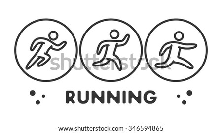 Line running logo and symbol. Vector sport icon and label