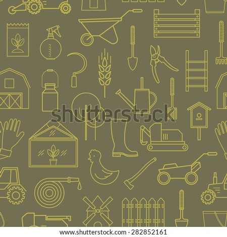 Line seamless pattern icon farmer, gardening tools on olive background. 30 high quality simple linier icons. Vector illustration, eps 10 - stock vector