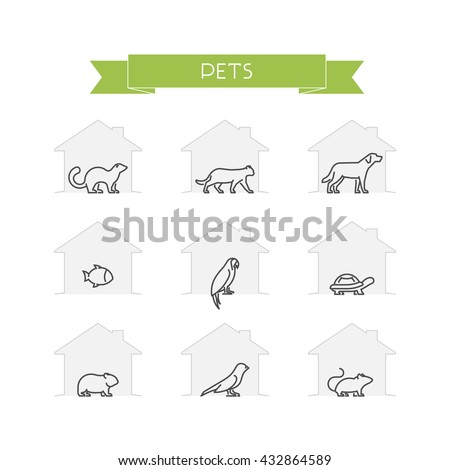 Line set of pets. Vector outline silhouettes domestic animals. Outline ferret, cat, dog, fish, parrot, turtle, hamster, canary and mouse isolated on white. Open path. - stock vector