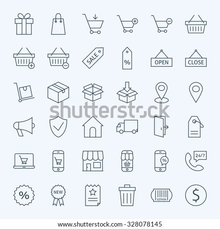 Line Shopping and E-commerce Icons Set. Vector Set of 36 Online Shopping Modern Line Icons for Web and Mobile - stock vector