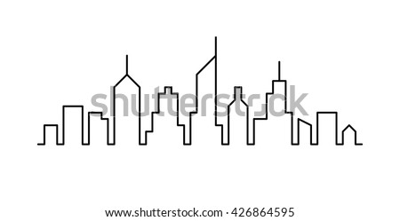 Line sketch cityscape design. Abstract black background - stock vector
