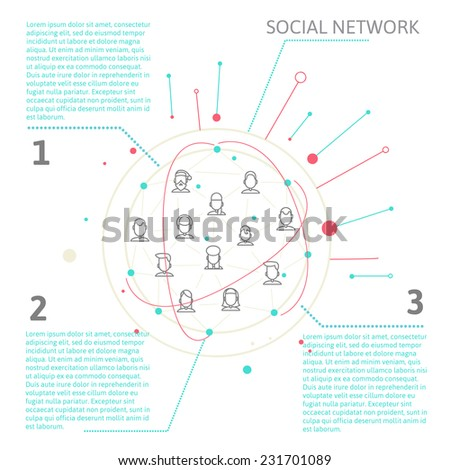 line style depicting individuals and social networks and place for your text.  modern image of human communication in the internet.  vector illustration eps 10 - stock vector
