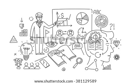 Line style design concept of business training and learning. - stock vector