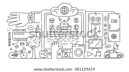 Line style design concept of internet of things data technology, network infrastructure of connecting everything - stock vector