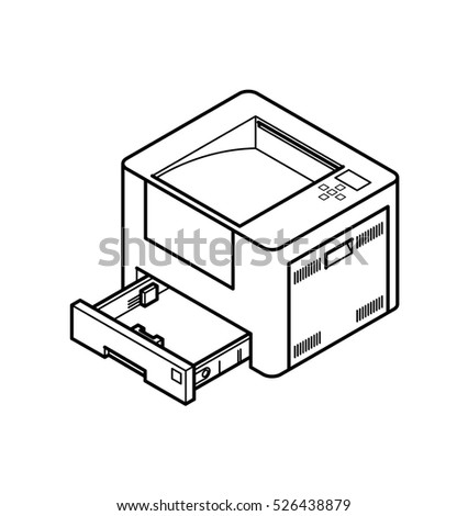 Line style drawing of an office laser printer. With paper tray opened.