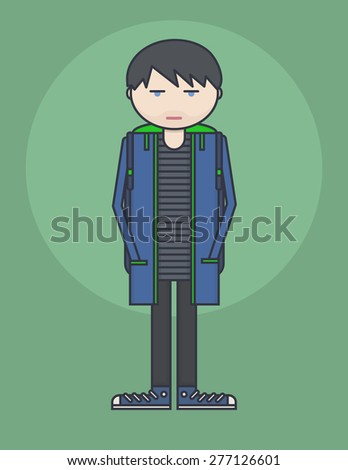 line style illustration showing young person standing with hands in his pockets - stock vector