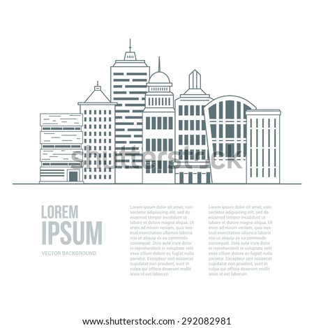Line style urban graphic template made in vector. Modern buildings  with place for your text. Architectural or constructional flyer design. Office buildings concept. - stock vector