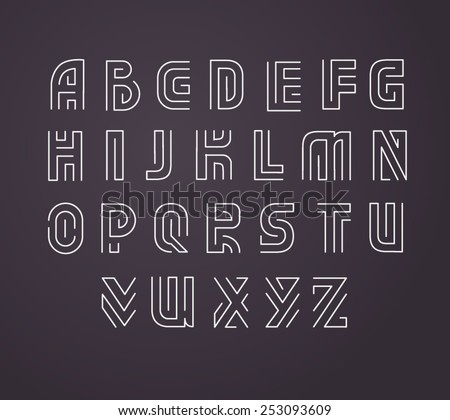 Line-style vector labyrinth alphabet