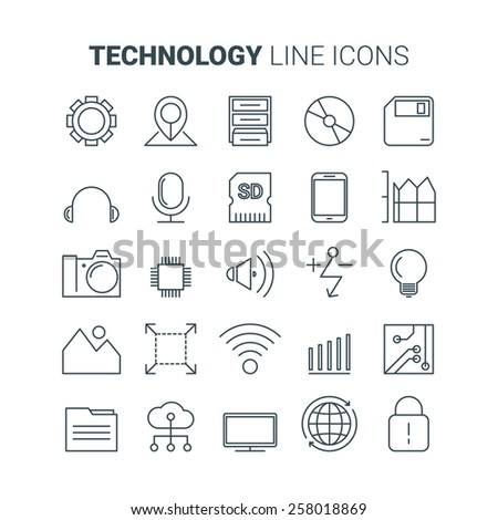 Line technology icons. Vector set - stock vector