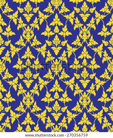 Line thai art pattern blue and gold - stock vector