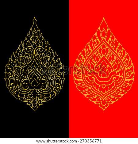 Line thai art pattern design - stock vector