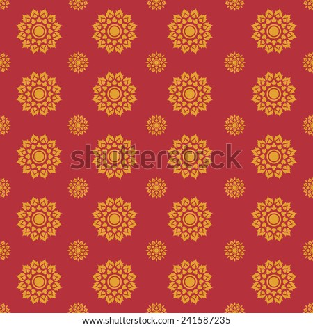 Line Thai traditional art pattern background, Vector - stock vector