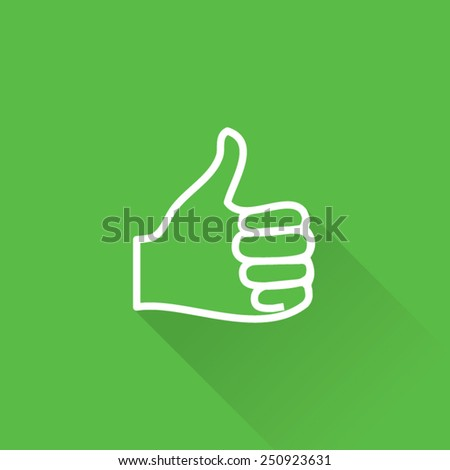 Line Thumb Up Icon Front Side - stock vector