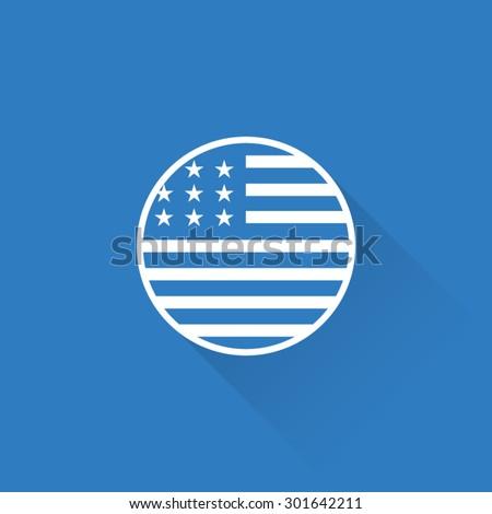 Line USA Flag Button - stock vector
