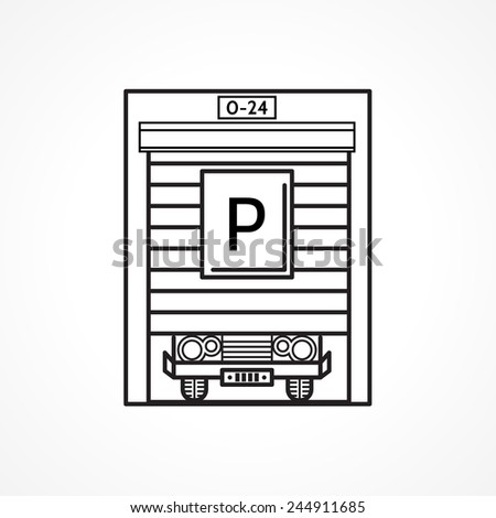 Line icon for parking garage black line single icon for garage doors