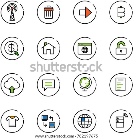 line vector icon set - antenna vector, trash bin, right arrow, bitcoin, money click, home, browser globe, unlocked, upload cloud, chat, document, t shirt, data exchange, server wireless