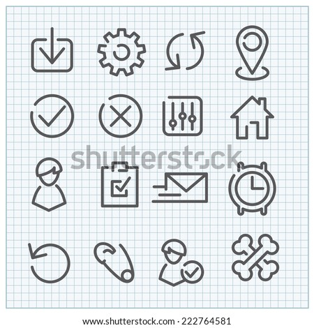 Line vector icon set for web design and user interface - stock vector