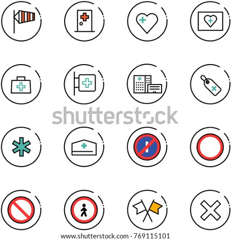 line vector icon set - side wind vector, first aid room, heart, kit, doctor bag, hospital building, medical label, ambulance star, hat, no parkin odd, prohibition road sign, pedestrian, flags cross