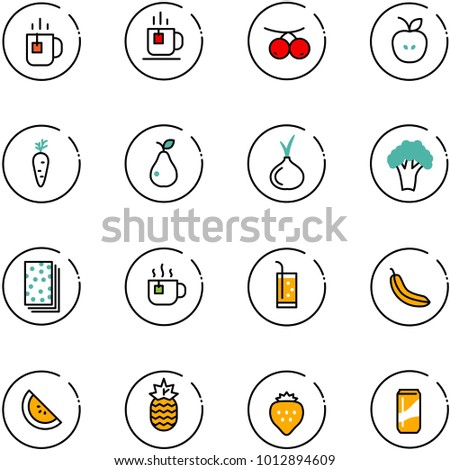 line vector icon set - tea vector, rowanberry, apple, carrot, pear, onion, broccoli, breads, hot, drink, banana, watermelone, pineapple, strawberry