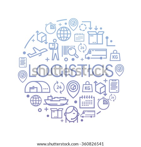 Line vector illustration on the theme of Logistics, Warehouse, Freight, Cargo Transportation. Storage of goods, Insurance. Modern flat design. - stock vector