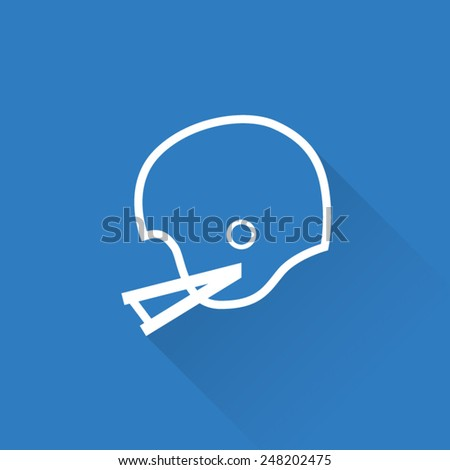 Line Vintage American Football Helmet Icon - stock vector