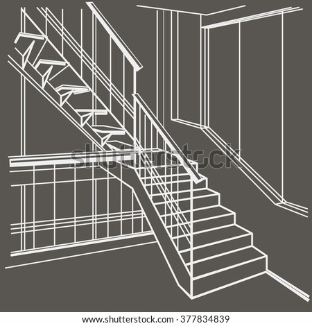 linear architectural sketch interior stairs on gray background