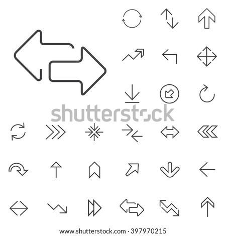 Linear Arrow icons set. Universal Arrow icon to use in web and mobile UI, Arrow basic UI elements set - stock vector