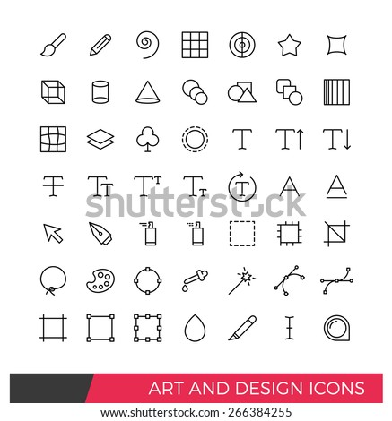Linear Art and Design Line Icons - stock vector