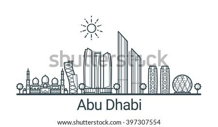 Linear Banner Abu Dhabi City All Stock Vector 397307554