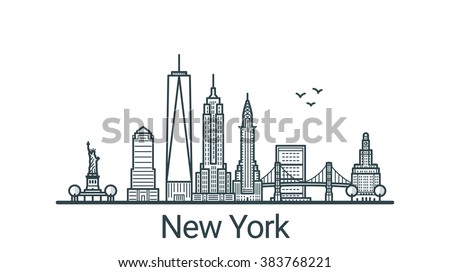 Linear banner of New York city. All buildings - customizable different objects with background fill, so you can change composition for your project. Line art. - stock vector