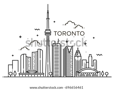 Linear banner of toronto line art