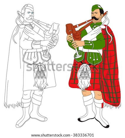 Linear black and white and coloring image of the Scottish piper. - stock vector