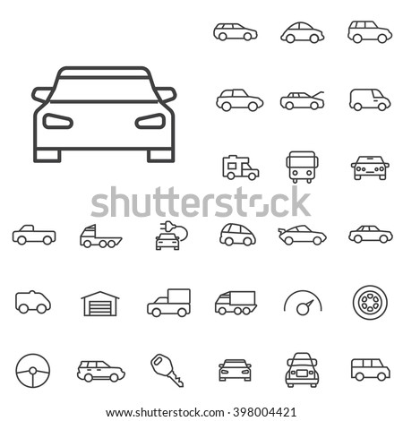 Linear car icons set. Universal car icon to use in web and mobile UI, car basic UI elements set - stock vector