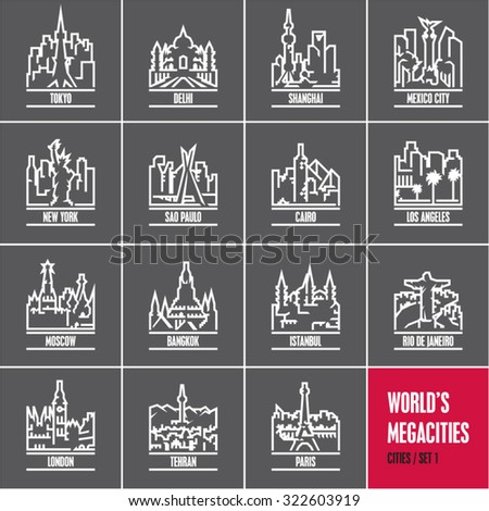 linear cities, cityscape, city skyline, city silhouette, cities vector icons set, megacities, - stock vector