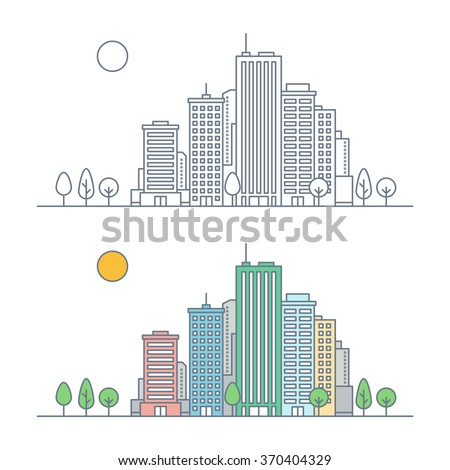 linear city landscape concept. line cityscape with skyscrapers and trees. urban landscape. real estate concept. flat outline style. isolated on white background. vector illustration - stock vector