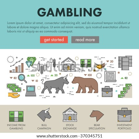 Linear concept for gambling on the rise and a fall. Vector line design landing page for gambling.  - stock vector