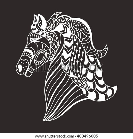linear decorative horse. Doodles art, zentangle. Logo,template for postcards . vector illustration - stock vector
